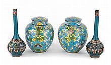 Two pairs of Chinese cloisonne enamel vases & jars