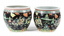 Pair Chinese Export Famille Noir fish bowls