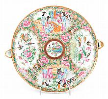 Chinese Export Rose Medallion hot water plate
