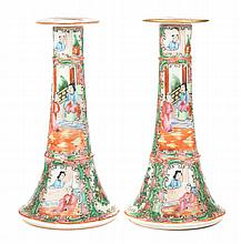 Pair Chinese Export Rose Medallion candlesticks