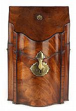 George III mahogany shaped knife box