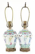 Pr of Chinese Export Famille Rose ginger jar lamps