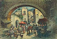 Amedeo Sica. Italian Market Scene, oil on canvas