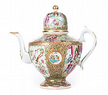Chinese Export Rose Medallion porcelain coffee pot