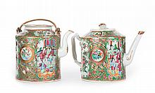 Two Chinese Export Rose Medallion drum teapots