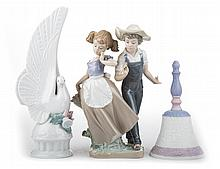Two Lladro porcelain figures and bell
