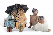 Two Lladro Gres figure groups