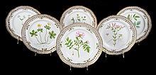 6 Royal Copenhagen Flora Danica luncheon plates