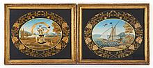Pair of French needlework and gouache pictures