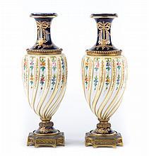 Pair Sevres porcelain urns