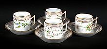 4 Royal Copenhagen Flora Danica cups and saucers