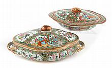 Two Chinese Export Rose Medallion serving dishes