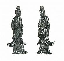 Pair of Chinese carved spinach jade figures