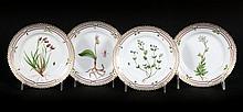 4 Royal Copenhagen Flora Danica bread plates