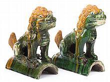 Pr of Chinese glazed terracotta foo dog roof tiles