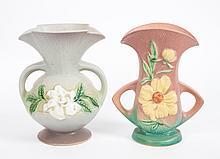 Two Roseville art pottery double-handled vases