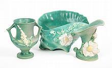 Three Roseville art pottery vases
