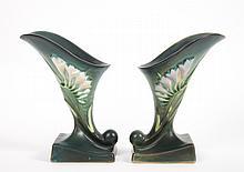 Pair of Roseville Freesia cornucopia vases