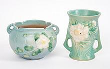 Two Roseville art pottery cabinet vases