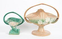 Two Roseville art pottery handled baskets