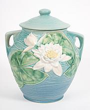 Roseville blue Water Lily lidded cookie jar