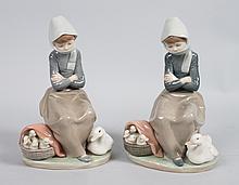Pair Lladro porcelain figural groups
