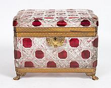 Continental gilt-metal-mounted glass dresser box