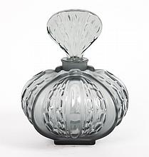 Lalique partially frosted grey glass scent bottle
