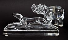 Baccarat crystal greyhound and elephant