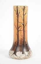 Legras paint and enamel decorated glass vase