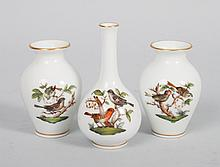 Three Herend porcelain miniature vases