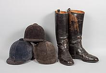 Pair of black leather riding boots & three hats