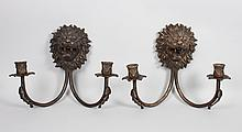 Pair of Regency style bronze two-light sconces