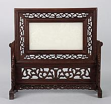 Chinese carved wood table screen with jade plaque