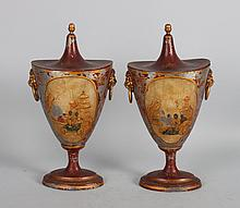 Pair of George III painted pewter chestnut urns