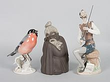 Two Lladro figures and Rosenthal songbird