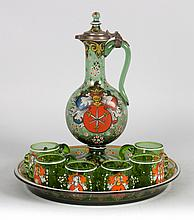 German enameled emerald green glass cordial set