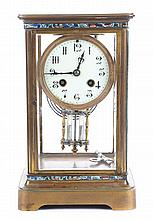 French champleve and bronze mantel clock