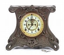 Ansonia Art Nouveau bronzed metal mantel clock