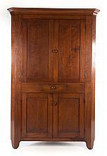 Late Federal vernacular cherrywood corner cupboard