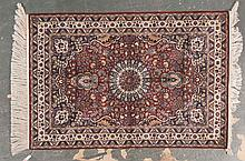 Fine silk Chinese rug, approx. 4.1 x 5.11