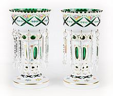 Pair of Bohemian cased emerald glass lustres