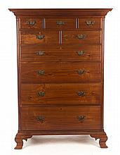 Cabinet made Chippendale style walnut tall chest