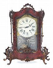 Rococo style burl walnut mantle clock