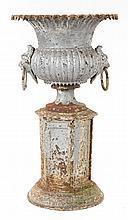 Victorian cast iron garden urn with base