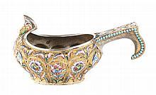 Russian cloisonne enamel silver-gilt kovsh