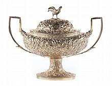 S. Kirk & Son repousse coin silver lidded tureen