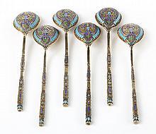 Russian cloisonne enamel silver dessert spoons