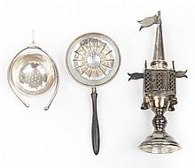 Sterling silver spice tower and 2 tea strainers