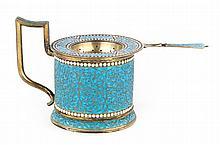 Russian cloisonne enamel silver tea cup holder